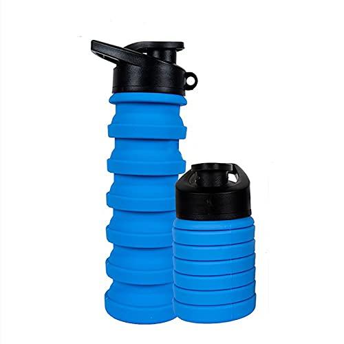 通用 Botella de Agua de Silicona Plegable Plegable de 500 Ml, Frasco de Viaje a Prueba de Fugas Botella de Bebida Deportiva Botellas de Bebida Plegables a Prueba de Fugas para Niños Viajes