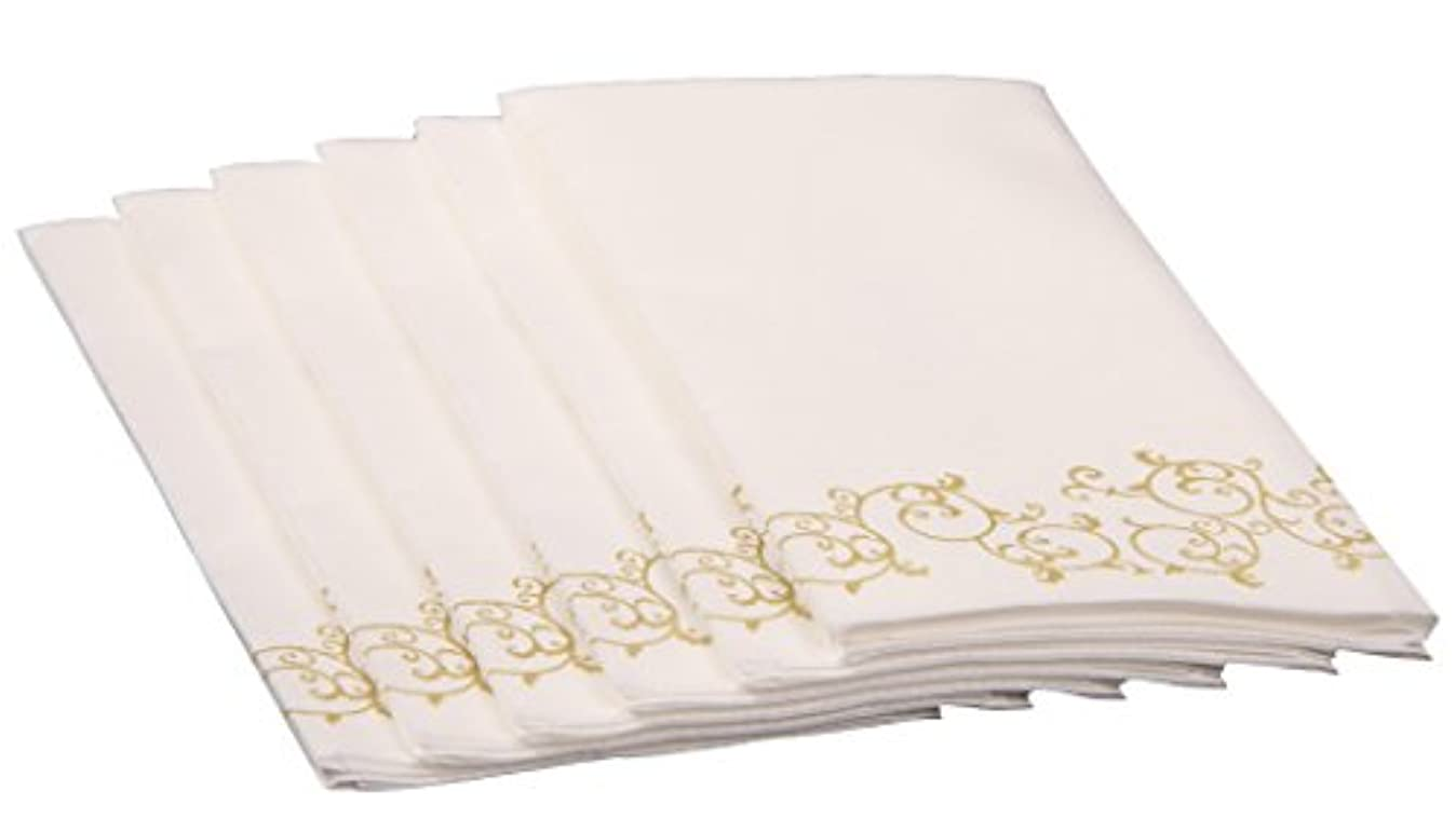 Simulinen Decorative Linen-Feel Bathroom Hand Towels – GOLD Floral Disposable Paper Towels for Guests – Box of 100 – Perfect Size: 12x17 inches unfolded & 8.5x4 inches folded a3776305756