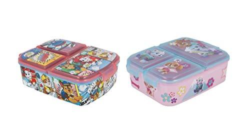 Paw Patrol Sandwichbox met 3 vakken voor kinderen, set van 2 stuks