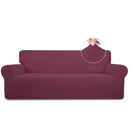 Easy-Going Stretch Sofa Slipcover 1-Piece Sofa Cover Furniture Protector Couch Soft with Elastic Bottom for Kids Spandex Jacquard Fabric Small Checks(Sofa,Taupe)