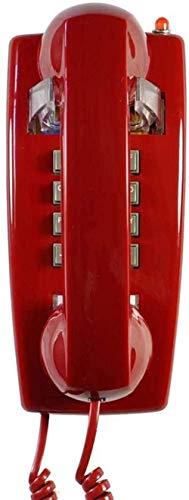 Antiguo teléfono Retro Montado Teléfono con Cable Teléfono Lanzamiento Teléfono Teléfono Teléfono Teléfono para Cocina Oficina de Hotel con Línea Fija-Rojo Well