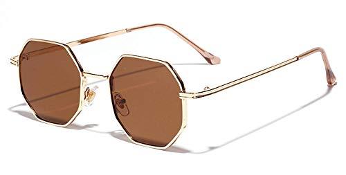 Peekaboo Frauen Vintage Sonnenbrille Männer Metall Gold Grün Braun 2019 männlich achteckige Sonnenbrille für Damen Polygon UV400-Gold mit Grün
