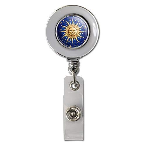 Celestial Suns Moon Shooting Stars Retractable Reel Chrome Badge ID Card Holder Clip