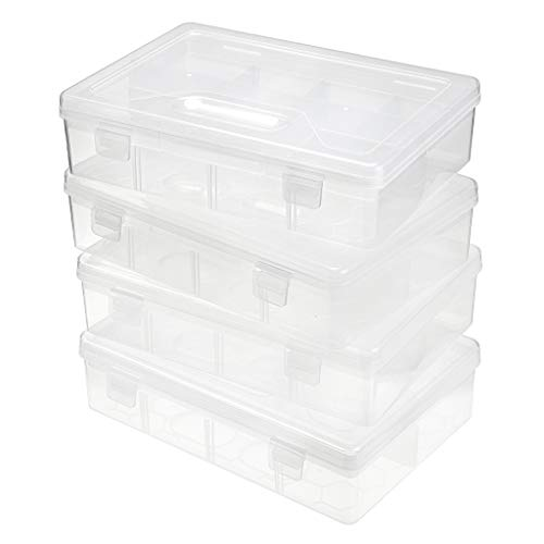 BTSKY Clear Plastic Pencil Box, Adjustable Double Deck Office Supplies Storage Organizer Case, Brush Painting Pencils Storage Box Watercolor Pen Container Drawing Tool 4 Pack