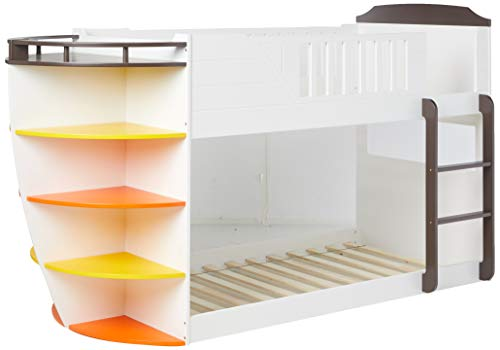 HomeRoots Twin/Twin Bunk Bed with Storage Shelves, White & Chocolate - Solid Wood, LVL, MDF White & Chocolate