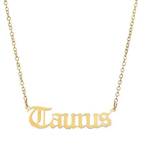 Fnho Chain Necklace for Valentine's Day,Girlfriend Birthday Anniversary,Collar de Doce Constelaciones, Cadena de clavícula con Letras-El Toro