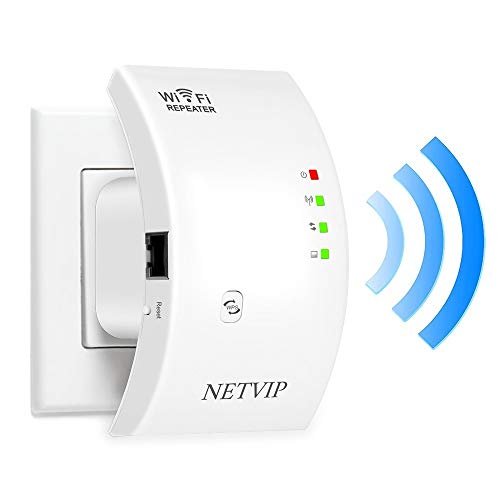 NETVIP WiFi Range Extender Wi-Fi Internet Signal Booster, 300Mbps Wireless Repeater Superboost WiFi Amplifier, Extends 2.4GHz WiFi to Smart Home & Alexa Devices, 360 Degree Full Coverage Network