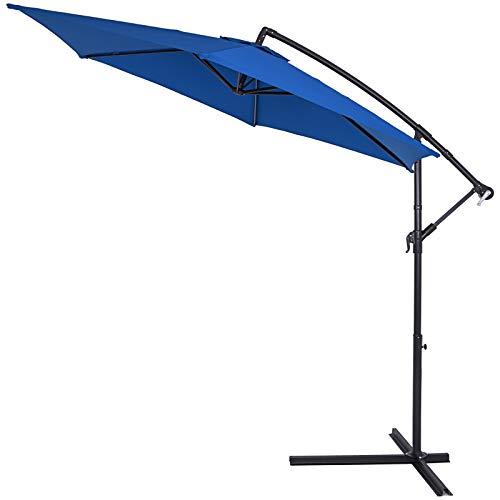 Kingsleeve Sombrilla XXL de jardín Azul Ø330cm con manivela y base en cruz Parasol con mástil aluminio