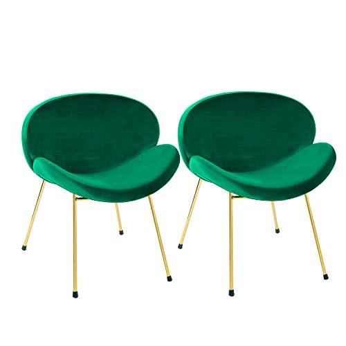 Altrobene Modern Velvet Accent Chairs, Kitchen Dining Chairs, Living Room Bedroom Chairs, Golden Finished, Set of 2, Green