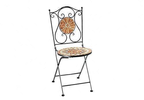 linoows Mosaik Gartenstuhl Castello, Metallstuhl im Landhausstil, Mosaik Stuhl
