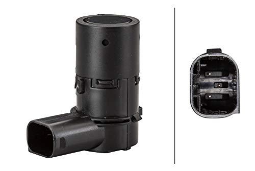 HELLA 6PX 358 141-111 Sensor, Einparkhilfe - gewinkelt - 3-polig - gesteckt - lackierbar - mit Befestigungsring