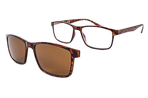 Lesebrille mit Sonnenmagnet - Presbyopiebrille - Müdes Sehvermögen - Unisex - Frau - Mann - 6016 (C1, 3.00 Dioptrien)