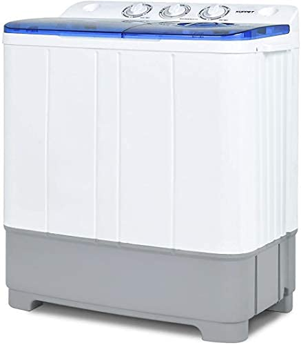 Portable Washing Machine, 21lbs Compact Twin Tub Washer and Spin Dryer Combo for Apartment, Dorms, RVs, Camping and More, White&Blue
