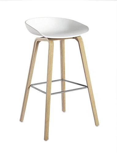 HAY - About A Stool AAS 32 - weiß - Eiche geseift - Fußbank Edelstahl - Sitzhöhe 65 cm - HEE Welling - Design - Barhocker - Hocker