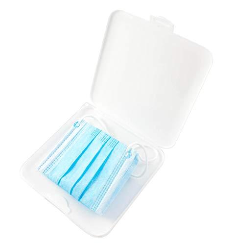 TBOC Caja para Guardar Mascarillas -  Estuche Cuadrado [Blanco] para Almacenar Máscaras Organizador Portátil Plástico Duro para Mascarillas Desechables Ligero Reutilizable Protege Suciedad y Polvo