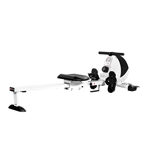 AsVIVA Rudergerät RA8 weiß | Magnetbremse mit 8 Widerstandsstufen, inkl. Pulsempfänger für optionale Brustgurte (Pulsgurt) natürlich klappbar | Heimtrainer Rower |