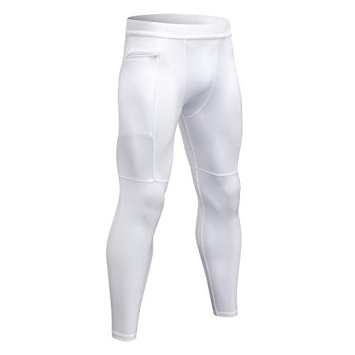 Mens Leggings Workout Tights Compression Pants with Pockets for Men Exercise Running Gym Fitness Base Layers #1070 White XXL