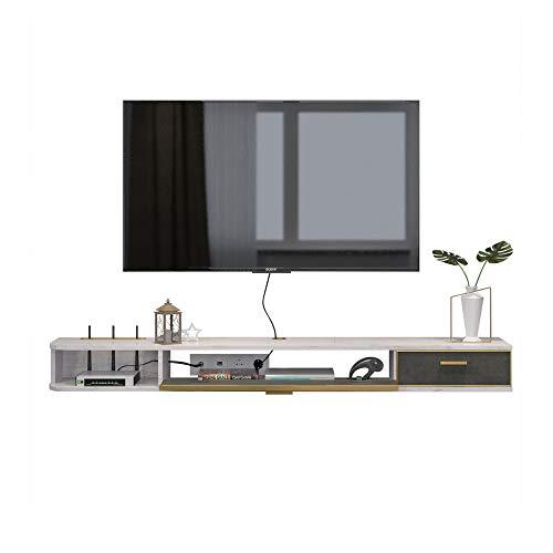 Meuble TV Suspendu, meuble TV simple en bois massif pour la maison, Console TV murale moderne, grand espace de rangement, peut placer des routeurs, des livres, une console de jeu/blanc / 140x2