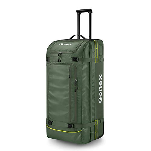 Gonex Rolling Travel Duffle Bag with Wheels, 100L Water Repellent Wheeled Luggage Travel Holdall Bag for Men and Women Olive Green
