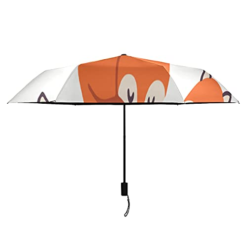 Paraguas a prueba de viento para niñas divertido bosque animal zorro conejo oso paraguas de viaje portátil ligero a prueba de viento Travell paraguas sol lluvia-perfecto paraguas de viaje p