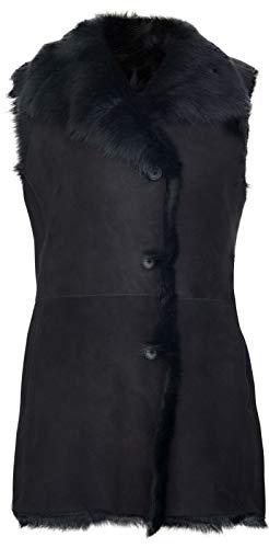 Infinity Leather Chaleco Abotonado Elegante de Piel de Oveja de Toscana de Ante Negro 4XL