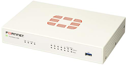 Fortinet FortiGate 50E Firewall (Hardware) 2500 Mbit/s - Firewalls (Hardware) (2500 Mbit/s, 350 Mbit/s, SHA-256, UDP, FortiOS, Verkabelt)