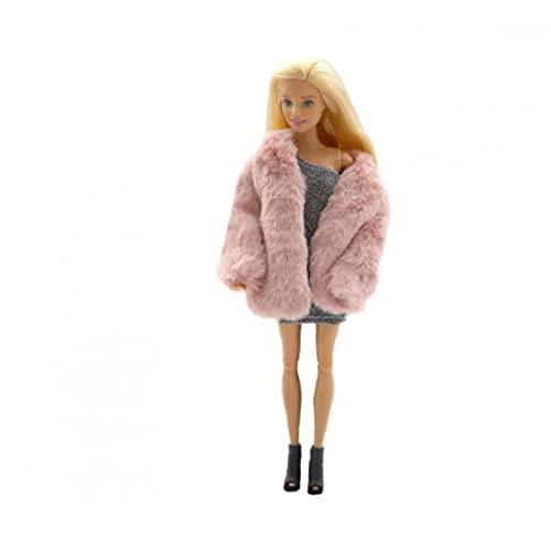 EElabper Capa De La Manera Felpa Capa Rompevientos Ropa Casual Traje Accesorios para La Muñeca Barbie Muñeca 29cm Rosa