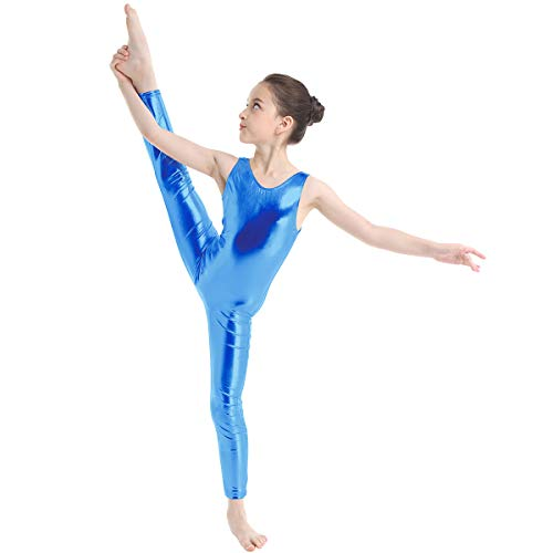 TiaoBug Kid's Metallic Sleeveless Full Body Gymnastics Unitard Costumes Blue 12-14