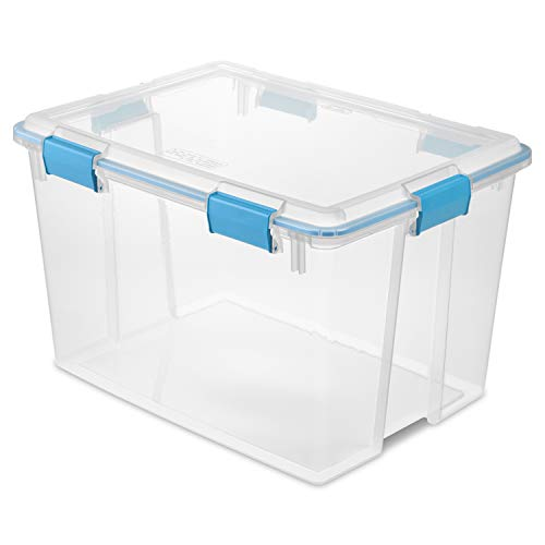 Sterilite 80 Quart Plastic Home Storage Gasket Box Container Clear 12 Pack