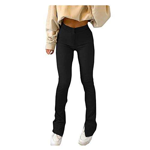 Womens Playsuit, Women Casual Solid Color Slim-fit Trousers Slit High-Waisted Skinny Sweatpants for Summer Holiday