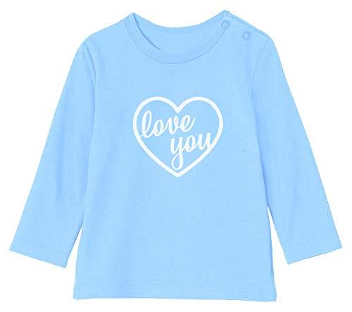 St Valentin Love You T-Shirt Bébé Unisex Manches Longues 12-18M 76/89cm Bleu Ciel