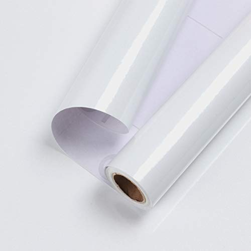 15.7''X118''White Contact Paper for Cabinets Glossy White Wallpaper Waterproof Peel and Stick Wallpaper Decorative Contact Paper for Countertops