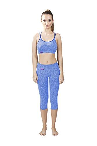EMMITOU Duo Active Camiseta Top de Mujer 01, Melange Azul, L