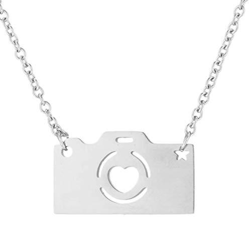 Underleaf Edelstahl Halskette für Frauen Liebhaber Gold und Silber Farbkamera Anhänger Choker Halskette