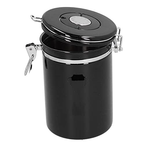 Zhjvihx Recipiente de café, recipientes de café de 5.0 x 7.4 Pulgadas, Recipiente de Almacenamiento de café, Sellado, Tarro de Granos de café con válvula de Escape, Cuchara para Cocina, Bar,(Black)