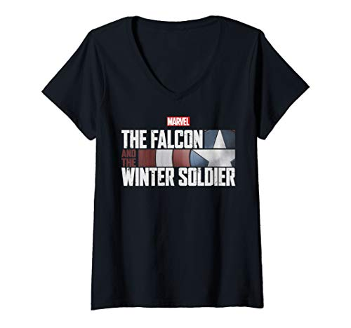 Womens Marvel The Falcon And The Winter Soldier Shield Logo V-Neck T-Shirt