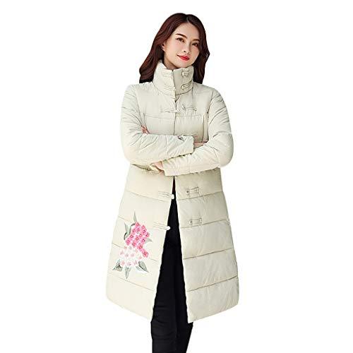 Deloito Winter Outwear Damen Mode Lange Wollmantel Blumen Stickerei Windjacke Plus Samt Trenchcoat Funktionsjacke Hoher Kragen Daunenjacke (Weiß,XXX-Large)