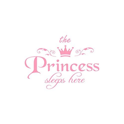 jgashf 3D Adesivi Murali The Princess con corona adesivi murali scritte bambina Fai da te Adesivi Murali Cameretta Cucina Salotto Home Decor The Princess (Rosa)