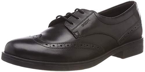 Geox JR Agata D, Zapatos de Cordones Brogue para Niñas, Negro (Black C9999), 34 EU