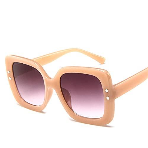 DLSM Gafas de Sol cuadradas Gafas de Sol Retras Gafas de Sol Retro Gafas de Sol de Moda para Lady UV400 Muy Apto para Correr, Escalada, Ciclismo, Motocicletas-Rosa Doble Gris