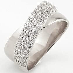 [ジュエリーアイ]Jewelry i 指輪 18金 ダイヤモンドリング パヴェ クロス ホワイトゴールドK18 ピンキーリング ギフト 10号