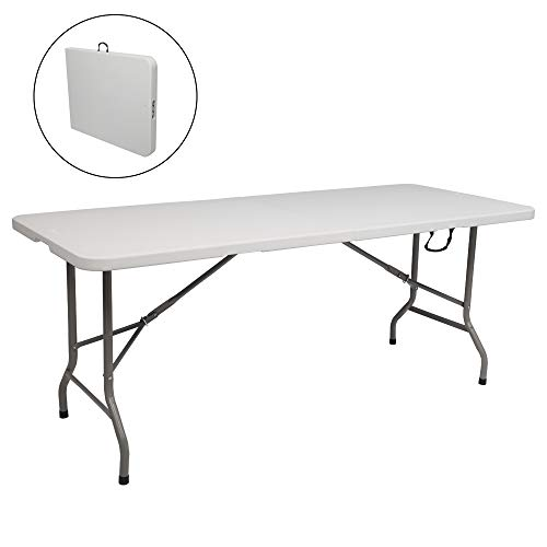 VINGLI 6 FT Plastic Folding Picnic Table,Portable in/Outdoor Party Camping Dining Desk,Off-White Garden Soccer Multipurpose Entertaining Activities