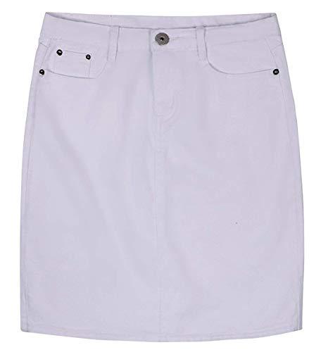 chouyatou Women's Basic Five-Pocket Rugged Wear Denim Skirt with Slit (X-Large, White)