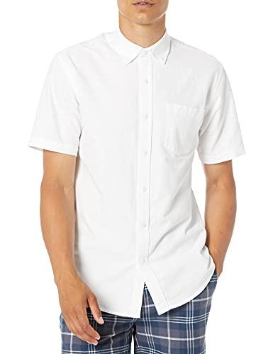 Amazon Essentials Herren Oxford-Hemd, reguläre Passform, Kurzarm, mit Brusttasche, Weiß (White Whi), S