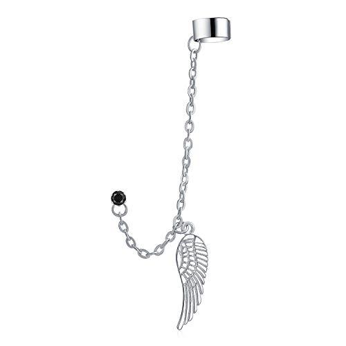 Guardián ángel ala pluma tubo de autotílago lóbulo de la oreja Helix warp cadena de estar pendiente negro cristal Stud Unisex acero inoxidable