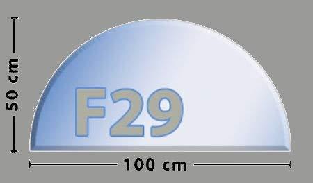 Halbkreis F29 Funkenschutzplatte - Glasplatte aus Sicherheitsglas