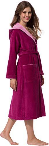 Morgenstern Bademantel für Damen aus Baumwolle mit Kapuze in Fuchsia Baumwoll Bademantel wadenlang Frottee Mantel Cotton Größe L Leonie