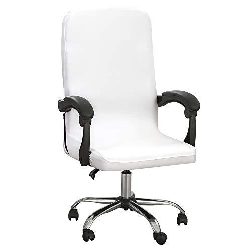 SearchI Funda para silla de oficina, poliéster, para silla de oficina, silla de oficina, silla de oficina, silla giratoria, funda para silla de oficina, color blanco, M