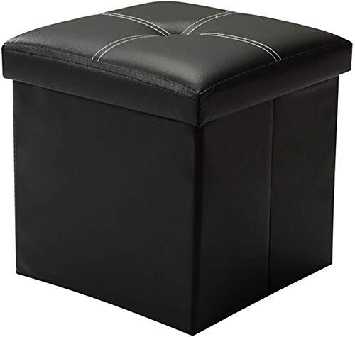 YCOCO Tabouret de rangement Ottoman petit cube repose-pieds en simili cuir noir