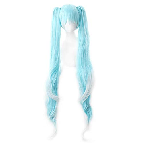 Anime Hatsune Miku Cosplay peluca larga rizado azul blanco degradado pelo sinttico fiesta de Halloween disfraz jugar pelucas